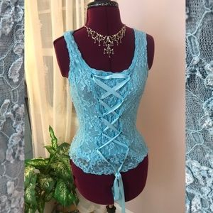 Lace corset top by Cache